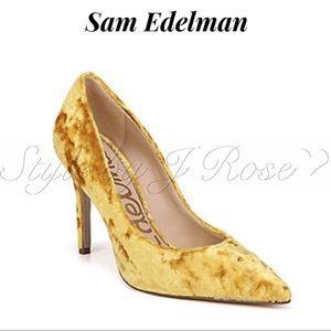 Sam Edelman Crushed Velvet Heels in 'Mustard'